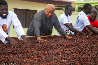 Prof. Alabi visited some cocoa farmers as part of his tour of the Western Region.
