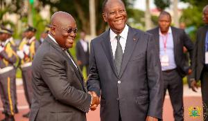 President Of Ghana, Nana Addo Dankwa Akufo Addo And  President Alassane Ouattara Of Ivory Coast