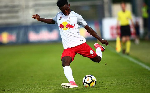 Gideon Mensah played part of Red Bull Salzburg's match against Chelsea