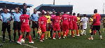 A cross-section of players and officials during a match between Royal Queens and Osun Babes