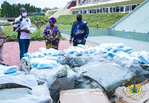 MP for Assin Central, Kennedy Agyapong handing over the items to the Chief of Staff
