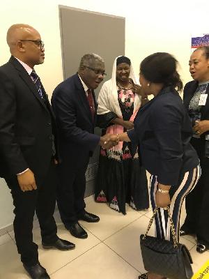 Hon. Shirley Ayorkor Botchwey exchanging pleasantries