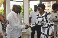 Nana Konadu Agyemang Rawlings in an handshake with Nana Akufo Addo
