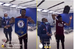 Screengrab of Amartey displaying and tossing over a Chelsea pennant