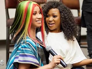 American rapper, Cardi B with Ghanaian actress Akuapem Poloo