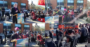 A collage photo of how the funeral ceremony went on the streets of Tottenham