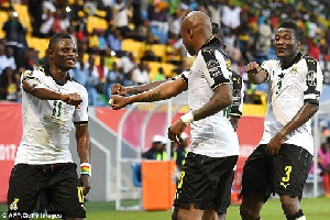 Andre Ayew and other players celebrating