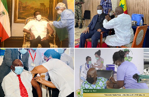 Collage of African leaders receiving coronavirus jabs