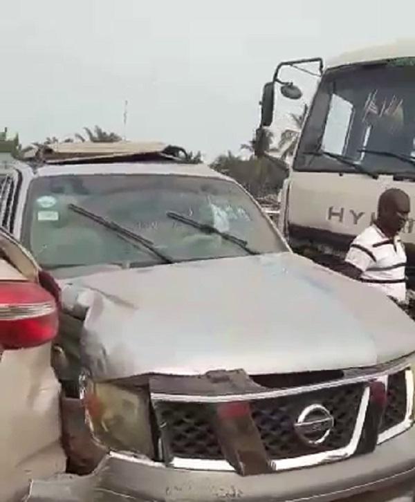 13 cars, 1 motorbike in freak accident at Adenta