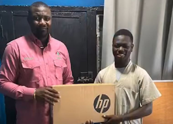 John Dumelo distributes laptops to students in Ayawaso West Wuogon