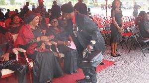 Ajos shaking hands with Samira Bawumia
