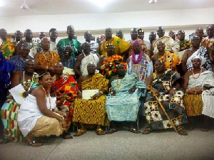 The traditional rulers in a group photo at the graduation