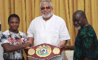 Dogbe with Rawlings and Azumah Nelson