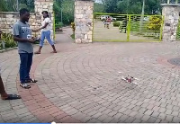 The drone being tested by a student