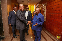 John Mahama shaking hands with Akufo-Addo at the Jubilee house