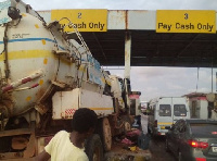 Portions of the tollbooth was destroyed
