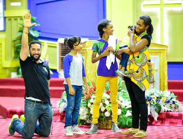 Majid Michel with his family