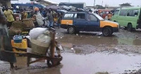 Ada Kasseh Market covered with mud during the raining season