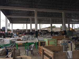 A look at the Makola market today as the AMA embarks on a disinfection exercise
