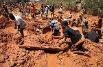 A photo of small scale miners on site