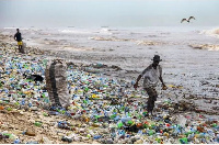 Rubbish washed out during flooding often finds its way back to Accra's beaches