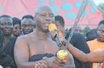 Nana Kweku Baah, the Nkosuohene of Kenyase Number 2, swearing the oath of allegiance to his overlord