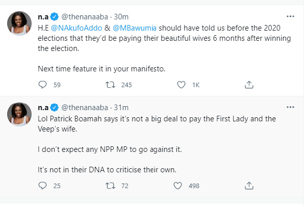 1st, 2nd Ladies salary: Next time feature it in your manifesto – Nana Aba to Akufo-Addo. 49