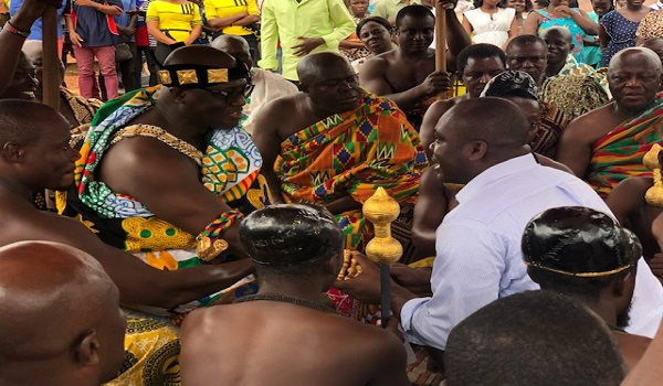 Isaac Asiamah, Youth and Sports Minister paying his respect to a chief