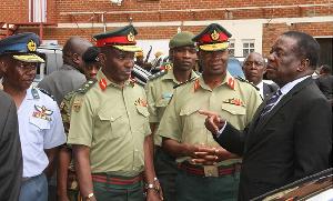 President Mnangagwa speaks to Commander Zimbabwe Defence Forces with  Lieutenant-General Edzai Chimo