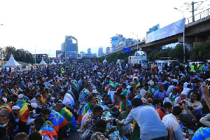 Tens of thousands of Ethiopian Muslims gathered at a central square