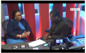 EC chairperson, Charlotte Osei being interviewed by BBC's Akwasi Sarpong
