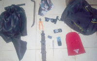 The red Toyota Corolla. inset: Some of the items retrieved by the police