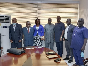 Leaders of the group during a courtesy call on GBC DG, Prof Amin Alhassan (middle)