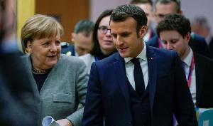 French president Macron with German chancellor Angela Merkel