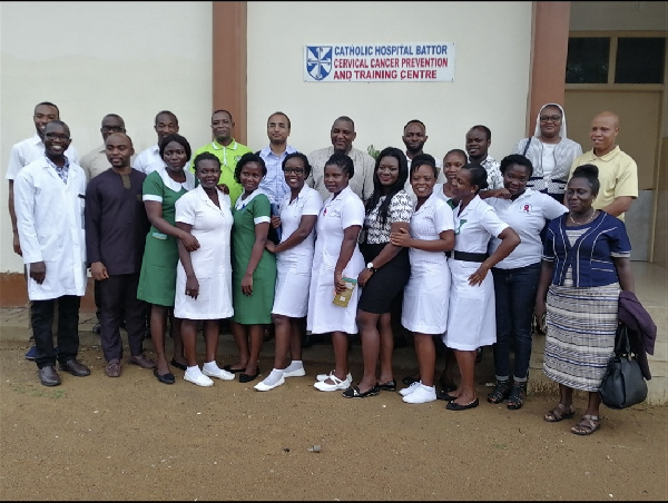 Officials from PRCGA in a group photo with officials from Catholic Hospital, Battor