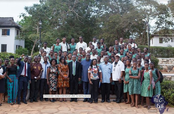 Dr Ekwow Spio Garbrah poses with Achimota students and ABCDE team