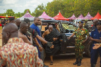 President Akufo-Addo arrived at the funeral grouds clad in black