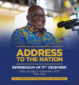 President Akufo-Addo will be addressing the nation