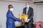 Ron Strikker making the presentation to the Ghana Health Service