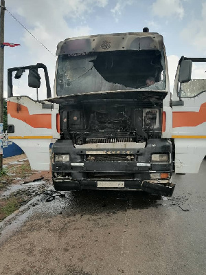 A photo of the burnt gas tanker