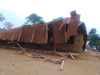 The collapsed classroom block in the Oti region