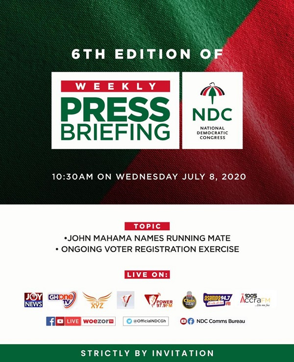 LIVESTREAMED: NDC\'s press conference on Running Mate, voters registration exercise