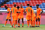 Ivorian players celebrate a goal from the 2 - 1 win against Saudi Arabia