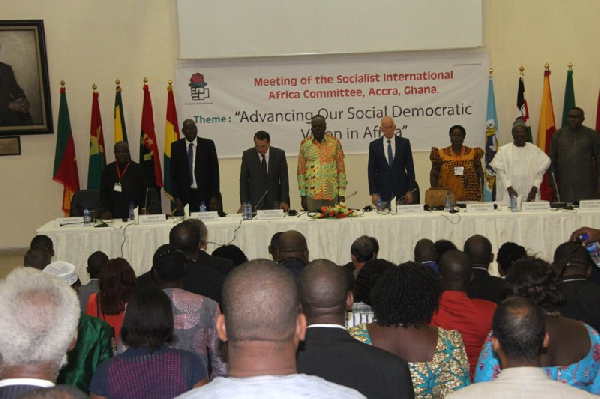 Vice President Kwesi Amissah Arthur addresses socialist conference in Accra.