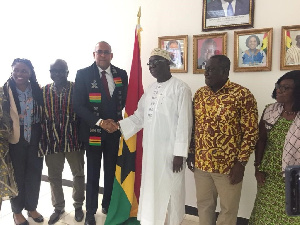 Aviation Minister, Joseph Kofi Adda in a handshake with the Barbados Minister of Tourism