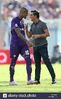 Ghana international Kevin-Prince Boateng and former Fiorentina coach Vincenzo Montella