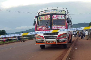 The bus on which an explosion killed two people in Mpigi District on October 25, 2021