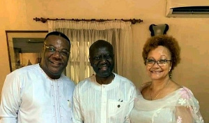 Ken Ofori-Atta, Finance Minister with wife and Arch-Bishop Duncan-Williams
