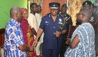 Acting IGP James Oppong Boanuh at the family house of the deceased police woman in Tamale