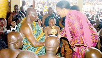 Rebecca Akufo-Addo paying homage to Otumfuo